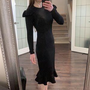 Anthropologie black bodycon midi dress xs nwot